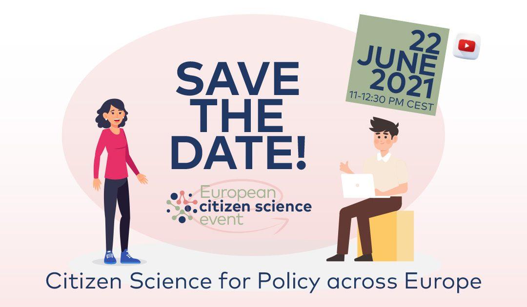 """¡RESERVA LA FECHA! Evento """"Ciencia ciudadana para las políticas en Europa"""" 22/06/21"""