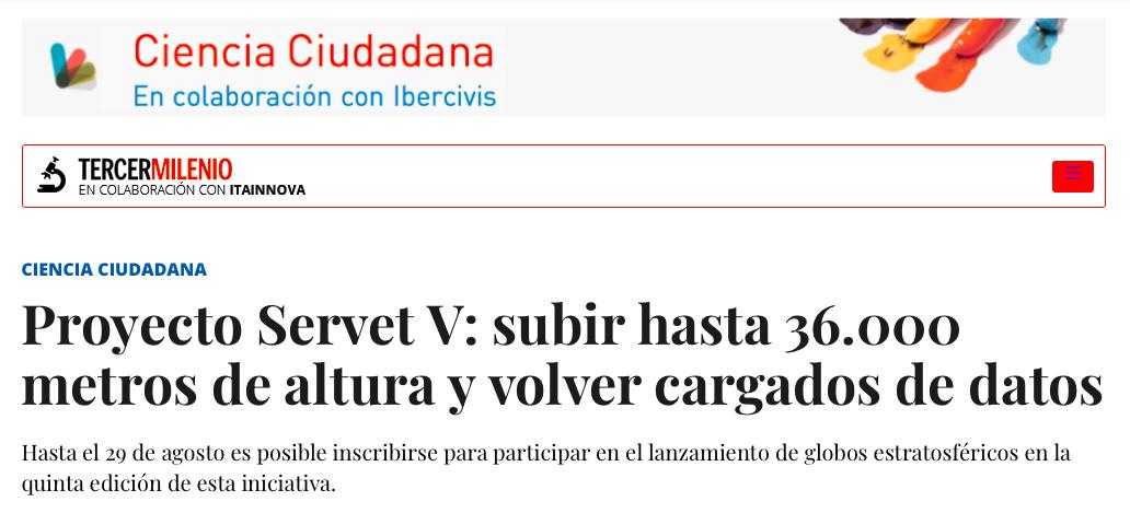 Heraldo de Aragón ('Tercer Milenio') se hace eco de la nueva edición de Servet V