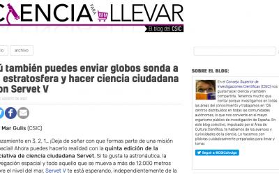 El blog del CSIC en '20 minutos.es' cuenta cómo se puede hacer ciencia ciudadana con Servet V